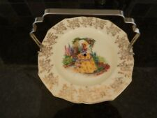 WEATHERBY - ROYAL FALCON WARE CRINOLINE LADY CAKE PLATE AND CARRYING HANDLE