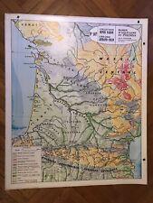 Carte Affiche scolaire Varon type Vidal - Bassin d'Aquitaine et Pyrénées