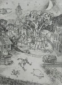1990 Modernist cityscape figures print signed