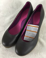 Crocs A-Leigh Womens Brown Leather Round Toe Wedge Heels Comfort Shoes Sz 10 New