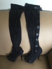 New Colin Stuart VS Black High Heel Thigh Over Knee Boots Size 6.5