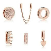 Sterling Silver Charm Rose Gold Reflexions Smooth Love Heart Clip Lock Beads