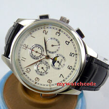 44mm parnis white dial date Moon Phase multifunction automatic mens watch P117
