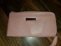Tahari ~ Long Pink Pebbled Leather RFID Wristlet Wallet ~ New W/O Tags