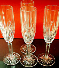 BARWARE SET OF 4 CRYSTAL CHAMPAGNE FLUTE GOBLETS ENGRAVED  MARQUIS  WATERFORD