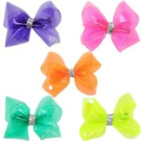 2 Pcs/lot 4 Inch Jelly Bows Summer Waterproof Transparent Hair Clips for Girls