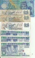 SINGAPORE+BRUNEI LOT 7x 1 DOLLARS. SAME IN SCAN. 4RW 17MAI
