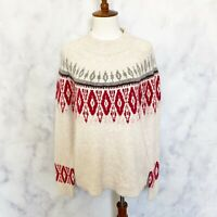Lucky Brand Womens Cream Fair Isle Mock Neck Pullover Sweater Size Small NWOT