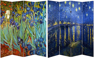 Oriental Furniture 6 ft. Tall Double Sided Works of Van Gogh Canvas Room Divider