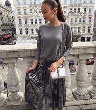 Zara Dark Silver Metallic Accordion Pleat Skirt Size Small