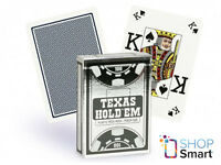 COPAG TEXAS HOLD'EM SILVER POKER CARDS CASINO DECK BLACK PEEK INDEX 100% PLASTIC