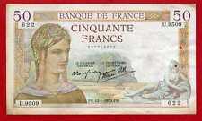(Ref: U.950) 50 FRANCS CÉRÈS 12/01/1939 (TTB)