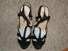Follow Me Size 6(39)Black Glitter & Patent Platform & Wedge Heel Strappy Shoes