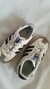 Adidas White/Black Samba trainers. Size -8 toddler - Excellent condition