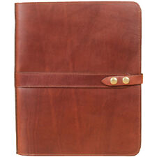 Leather Business Double Portfolio Notebook Writing Notepads Brown USA Made No.36