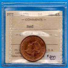 Canada PEI 1871 1 Cent One Large Cent Coin - ICCS MS-65