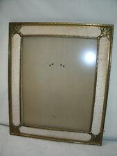 Art Deco Metal Picture Frame-Bronze/Gold-Cream Fabric Accent-Original