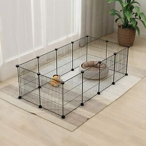 Tespo Small Animal DIY Wire Playpen 12 Panels - Black