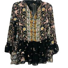 Womens Sheer Blouse Black Floral Butterfly Ruffle Victorian Romantic Button Down