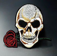 Rose Skull Embroidered Patch Iron On / Sew On Badge Applique Clothes Fabric
