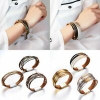 Women Multi-layer Cuff Magnetic Clasp Leather Bracelet Bangle Wristband Jewelry