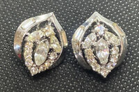 VINTAGE CROWN TRIFARI SILVER TONE RHINESTONE CLIP EARRINGS DESIGN PAT PEND