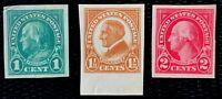 US Stamp SC #575-577 Imperf. Regular Issues Full Set Mint