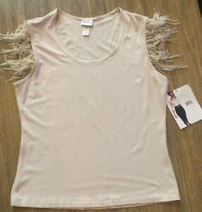 Women's Boutique Sleeveless Fringe Cream Top Size Large