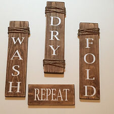 Wash Dry Fold Repeat Brown Wooden Laundry Room Signs