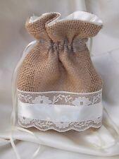 Hessian Lace & Satin Bridal  Bridesmaid Dolly Bag HANDMADE