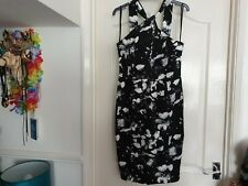 Primark black & white tropical orchid print twist neck pencil dress 12 tiki 50s
