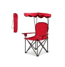 Red Portable Folding Beach Chair with Canopy & Cup Holder Outdoor Shaded Sports