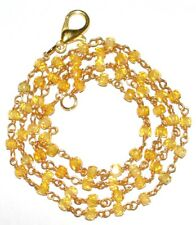 Plated Wire Faceted Rosary Beads Neckalce 18 Inch Strand Yellow Zircon 3mm Gold
