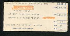 1979 Cheap Trick Moon Martin Concert Ticket Stub La Forum Dream Police