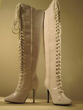"""Sexy Tall White Vixen Boot by Ellie 4"""" Heel Size 7(a very SMALL Size 7) NIB"""