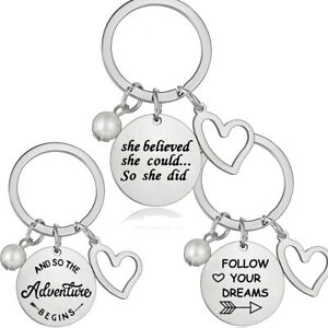 Inspirational Gifts Keyring Women Jewelry Birthday Gift For Her Keychain Heart
