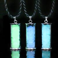 Glow in the Dark Glass Wishing Bottle Luminous Fashion Pendant Charm Necklace