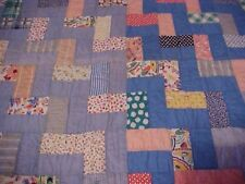 1930s USA Hand Made QUILT STAIRS or STEPS, FROM FEEDSACK & BLUES