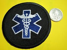 MEDICAL PATCH STAR OF LIFE FIRST RESPONDER TACTICAL BLACK  PATCH CIRCLE LOOK!*