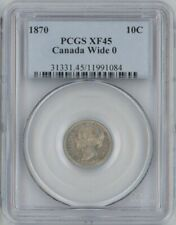 Canada 1870 Wide 0 silver 10 cents PCGS XF45