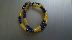 New Handcrafted Double Strand Lapis and Yellow Jade Bracelet Birthday Gift