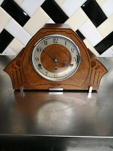 VINTAGE ART DECO WOODEN INLAID HALLER MANTLE CLOCK WESTMINSTER CHIME AND KEY