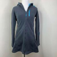 Athleta Swara Microfleece Fleece Hoodie Floral Stitch Long Turquoise Jacket XXS