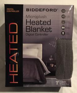 "Biddeford Heated Microplush Blanket Gray Twin 62""x84"" New Sealed Digital Control"