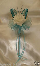Wedding Flowers Bridesmaids Flower Girl Teal Butterfly Tifany Ribbons Ivory