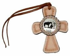 Showman Light Leather SADDLE TIE ON CROSS with PRAYING COWBOY Concho