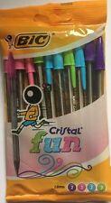 Nouveau Pack de 10 BIC cristal Fun Couleur Stylos à bille 1.6 mm Bleu Vert Rose Violet