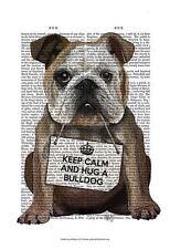 BULLDOG POSTER - KEEP CALM AND HUG A BULLDOG adorable cute breed puppy art print