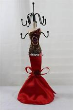 Red Embroidery Mannequin Jewelry Earring Necklace Stand Display Holder 10.5""