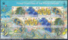 PITCAIRN ISLANDS 2012 WWF FLUTED GIANT CLAM SHEET OF EIGHT MINT NH